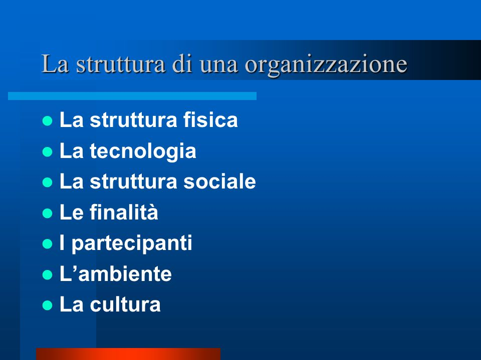 La struttura di una organizzazione