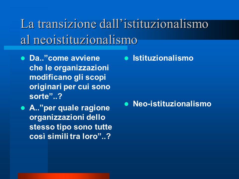 La transizione dall'istituzionalismo al neoistituzionalismo