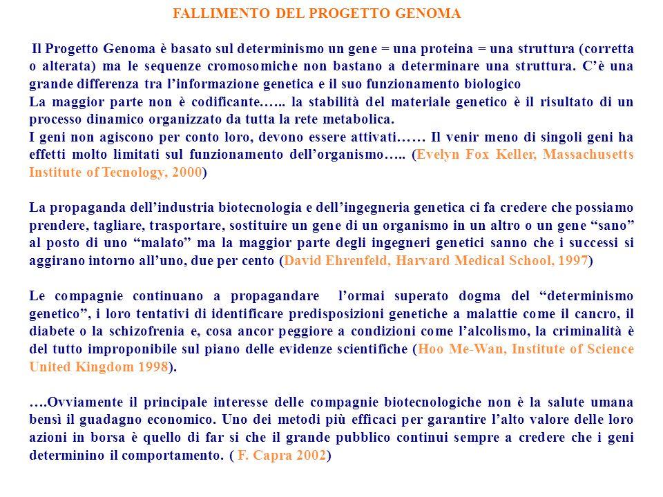 FALLIMENTO DEL PROGETTO GENOMA