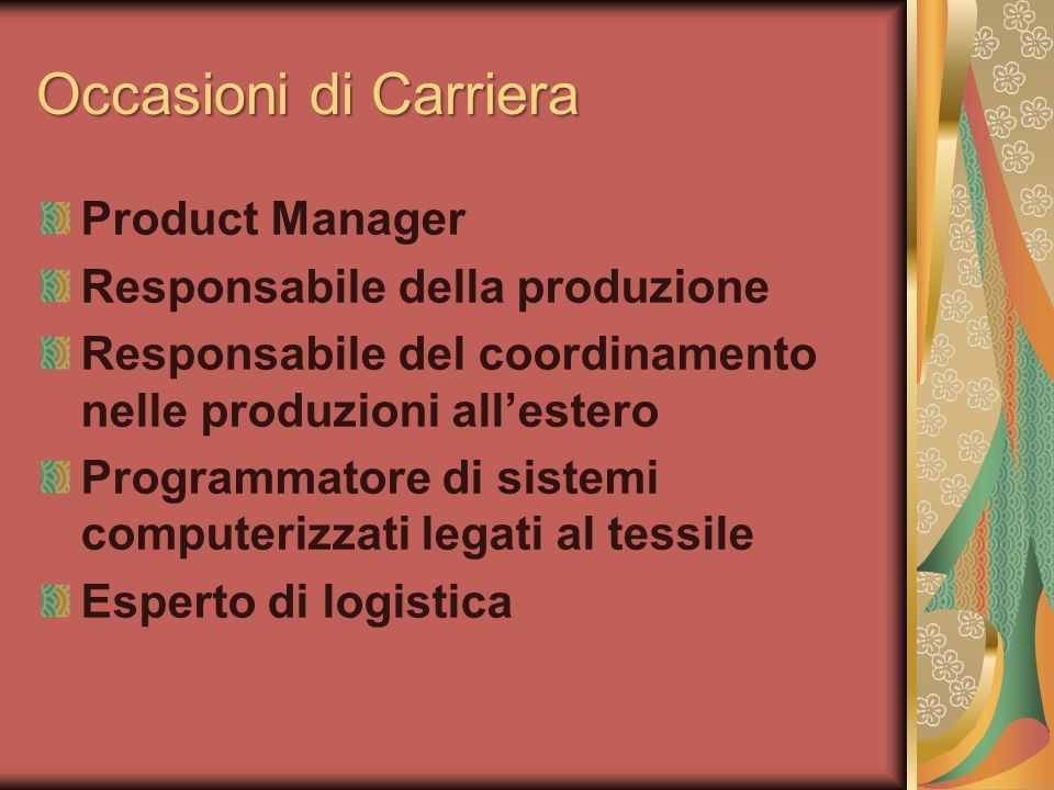Occasioni di Carriera Product Manager Responsabile della produzione