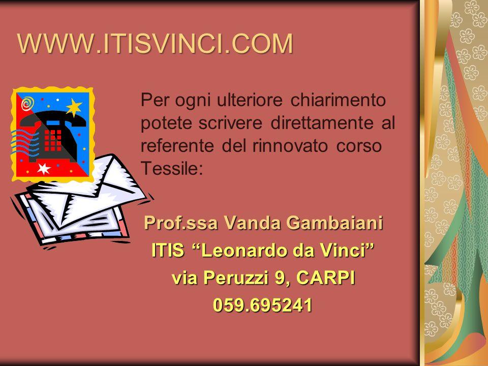 Prof.ssa Vanda Gambaiani ITIS Leonardo da Vinci