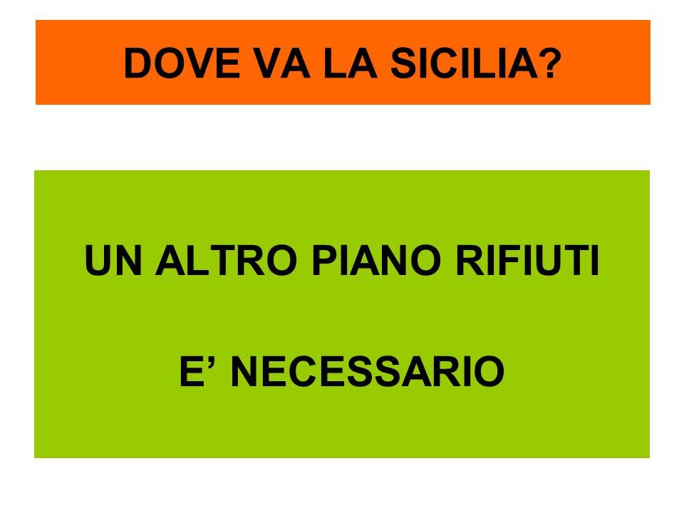 DOVE VA LA SICILIA UN ALTRO PIANO RIFIUTI E' NECESSARIO