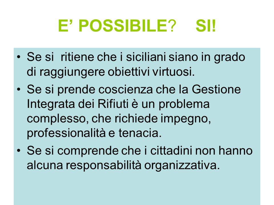E' POSSIBILE SI! Se si ritiene che i siciliani siano in grado di raggiungere obiettivi virtuosi.