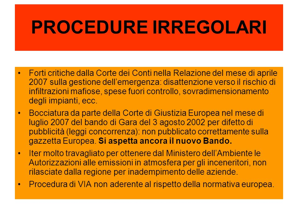PROCEDURE IRREGOLARI