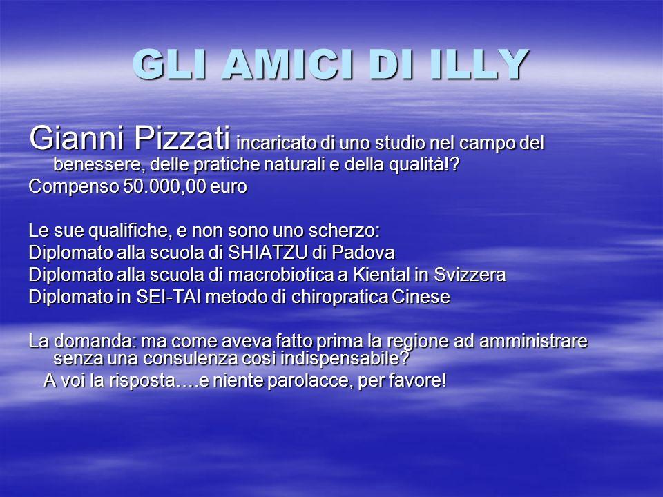 GLI AMICI DI ILLY Gianni Pizzati incaricato di uno studio nel campo del benessere, delle pratiche naturali e della qualità!