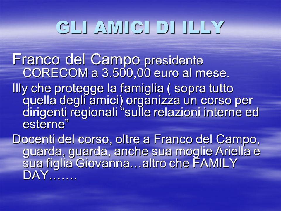 GLI AMICI DI ILLY Franco del Campo presidente CORECOM a 3.500,00 euro al mese.