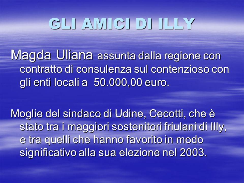 GLI AMICI DI ILLY Magda Uliana assunta dalla regione con contratto di consulenza sul contenzioso con gli enti locali a 50.000,00 euro.