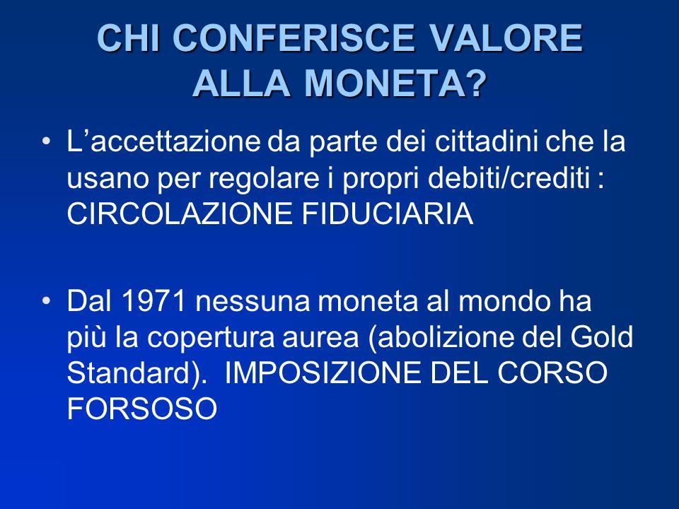 CHI CONFERISCE VALORE ALLA MONETA