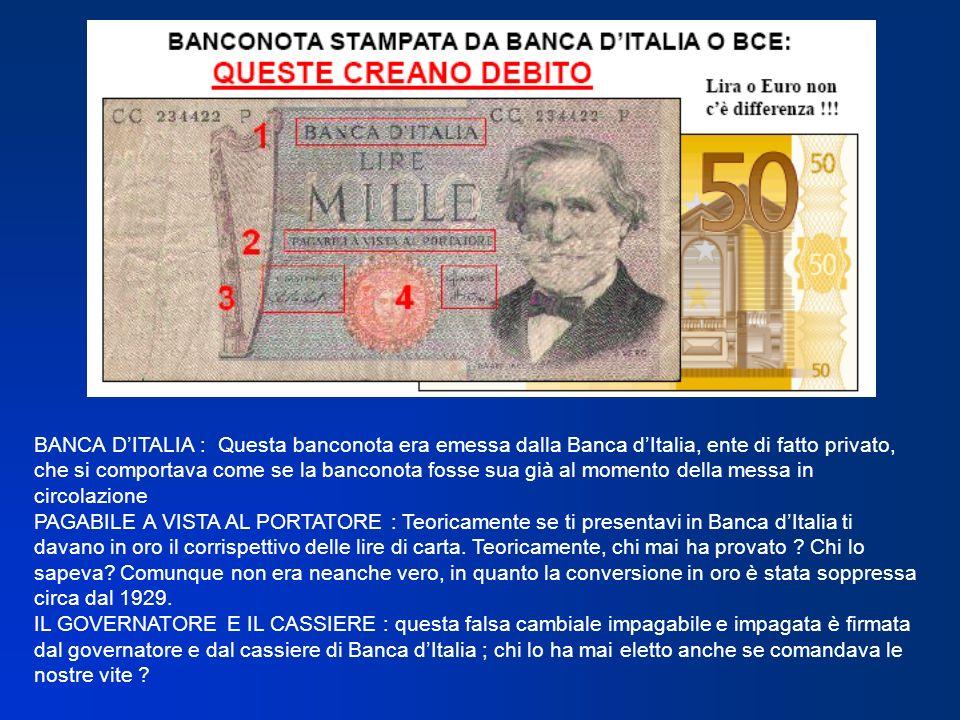 BANCA D'ITALIA : Questa banconota era emessa dalla Banca d'Italia, ente di fatto privato, che si comportava come se la banconota fosse sua già al momento della messa in circolazione