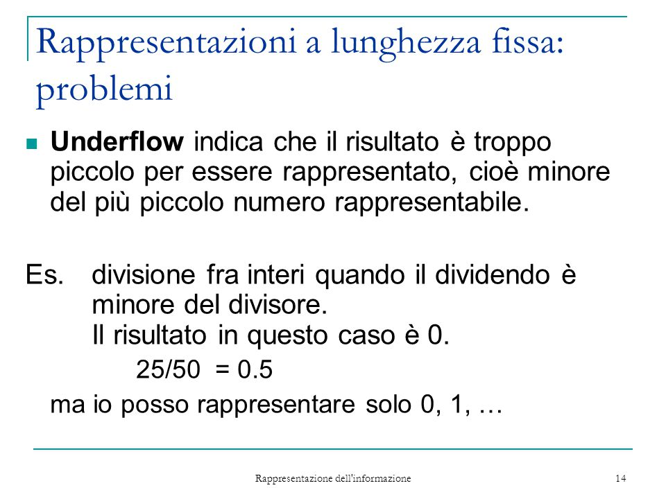 Rappresentazioni a lunghezza fissa: problemi