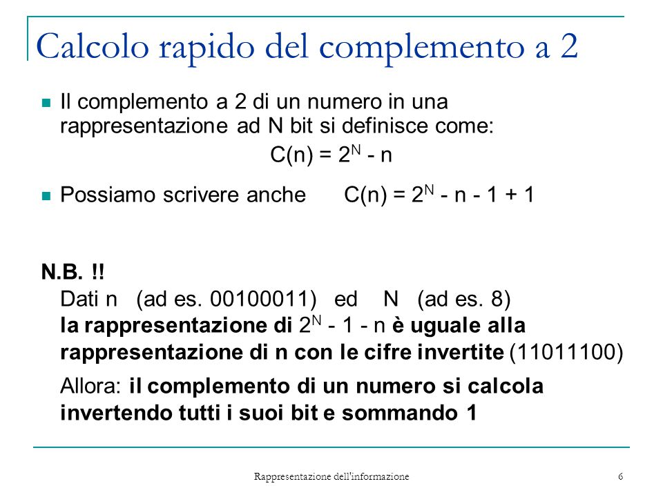 Calcolo rapido del complemento a 2