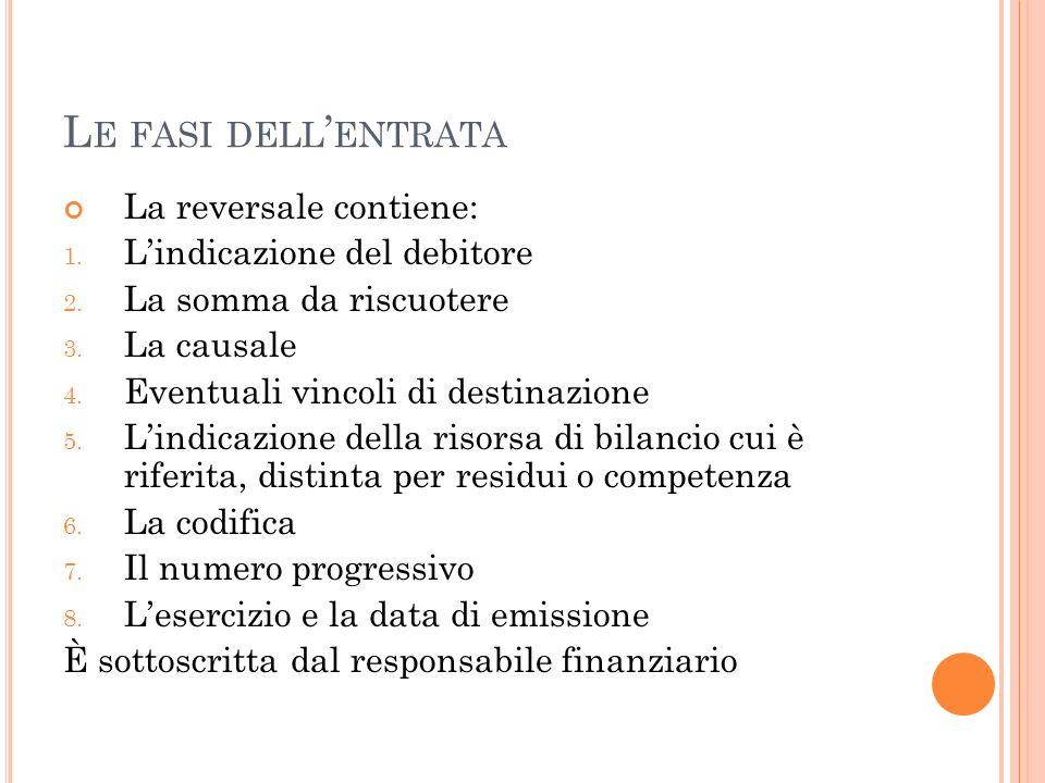 Le fasi dell'entrata La reversale contiene: L'indicazione del debitore