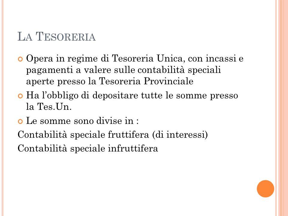La Tesoreria Opera in regime di Tesoreria Unica, con incassi e pagamenti a valere sulle contabilità speciali aperte presso la Tesoreria Provinciale.