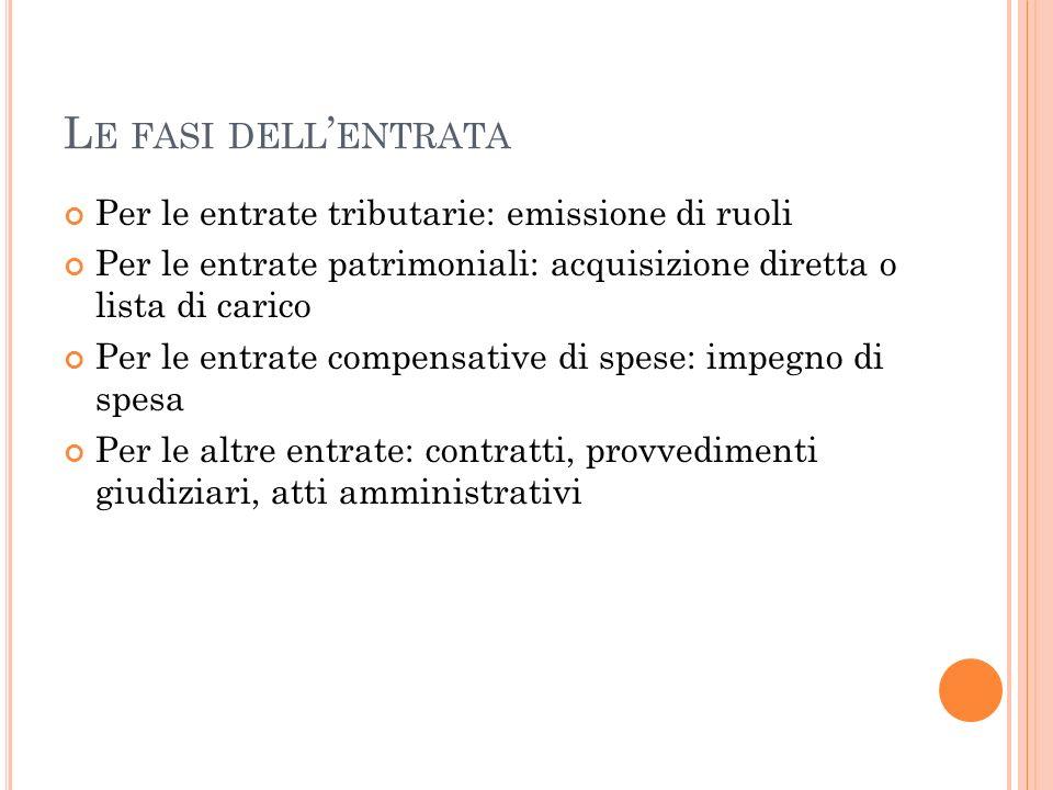 Le fasi dell'entrata Per le entrate tributarie: emissione di ruoli