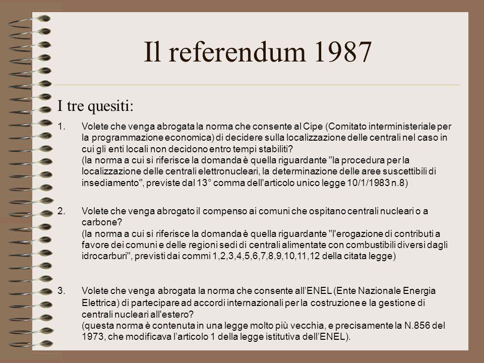 Il referendum 1987 I tre quesiti: