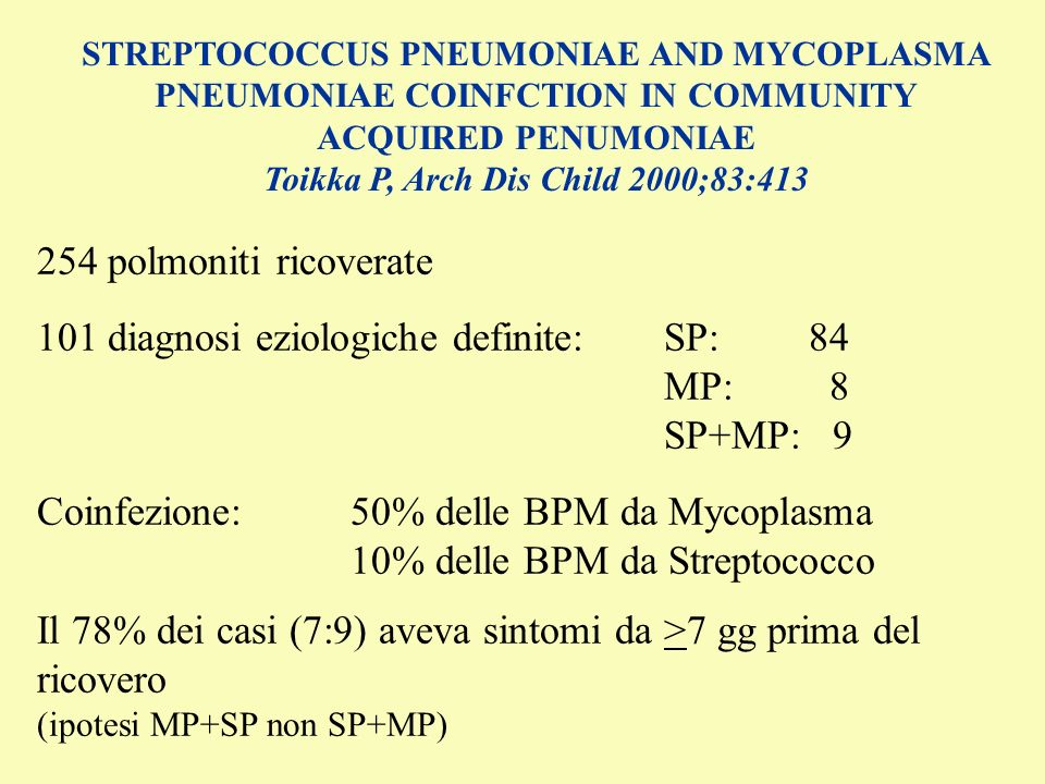 101 diagnosi eziologiche definite: SP: 84 MP: 8 SP+MP: 9