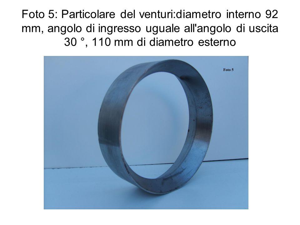 Foto 5: Particolare del venturi:diametro interno 92 mm, angolo di ingresso uguale all angolo di uscita 30 °, 110 mm di diametro esterno