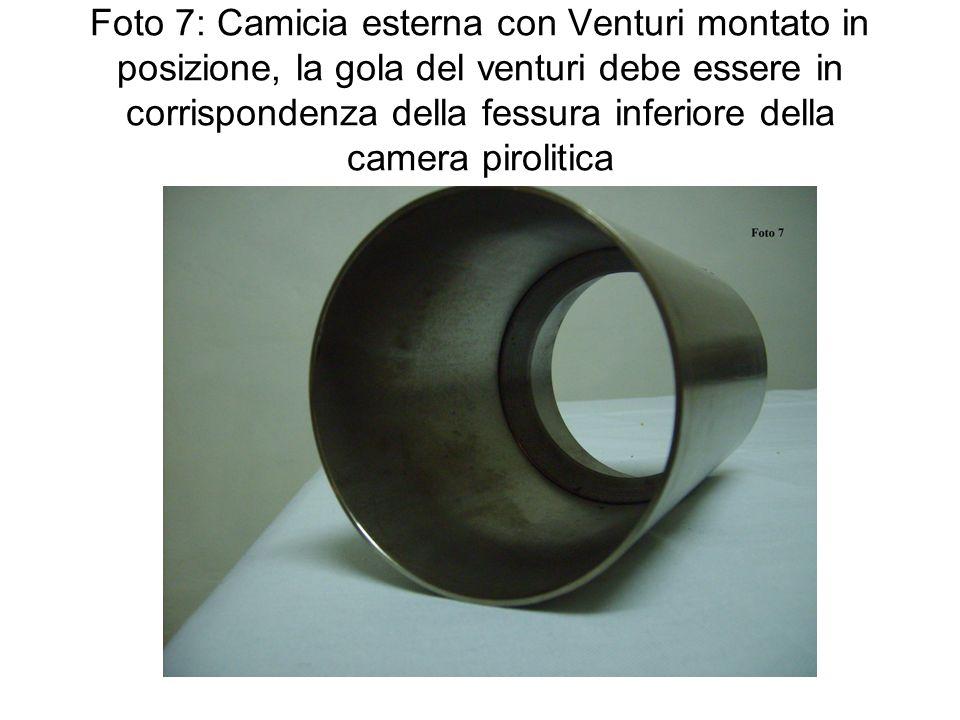 Foto 7: Camicia esterna con Venturi montato in posizione, la gola del venturi debe essere in corrispondenza della fessura inferiore della camera pirolitica