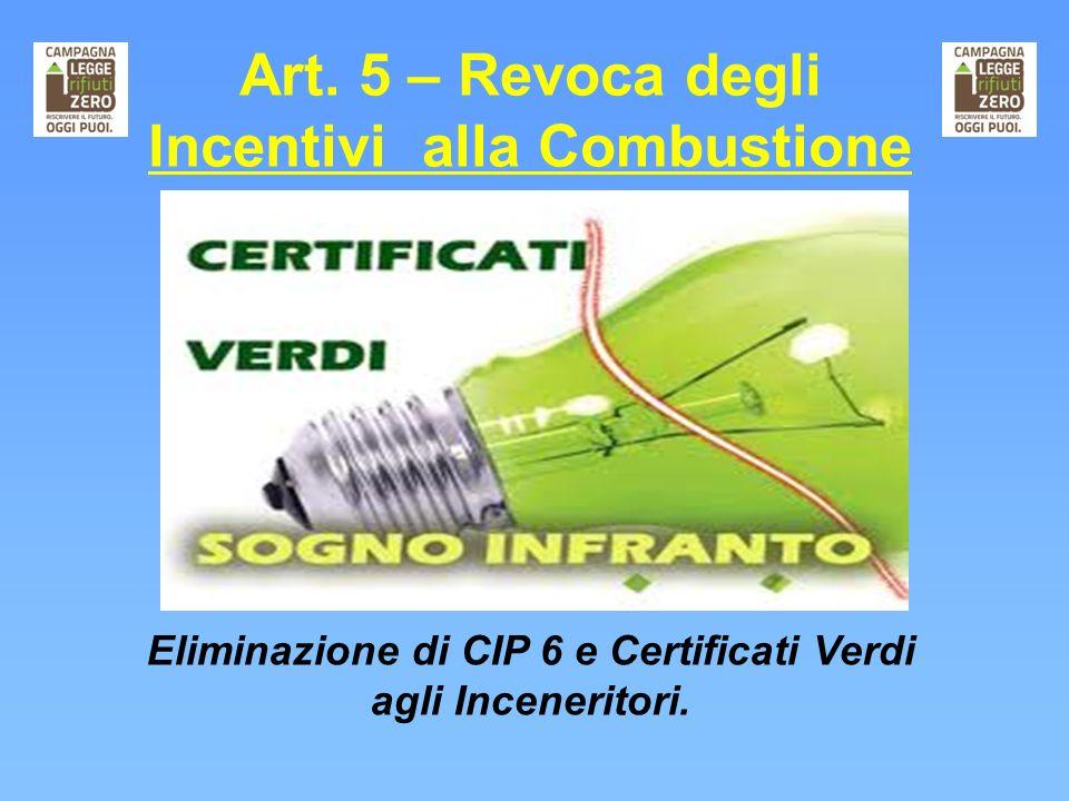 Art. 5 – Revoca degli Incentivi alla Combustione