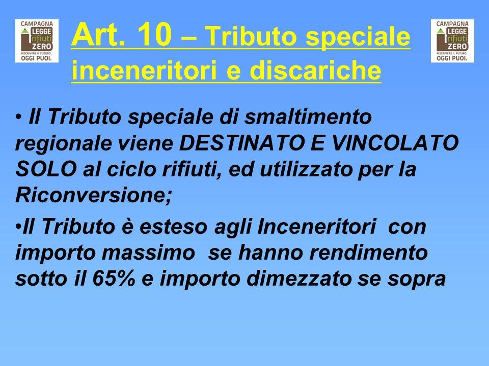 Art. 10 – Tributo speciale inceneritori e discariche
