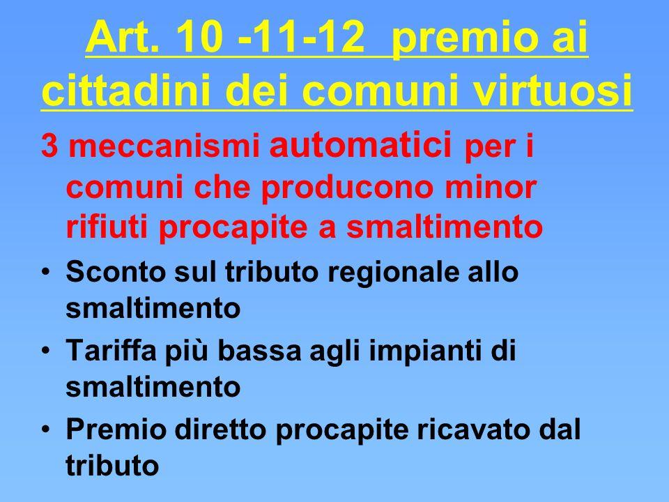 Art. 10 -11-12 premio ai cittadini dei comuni virtuosi