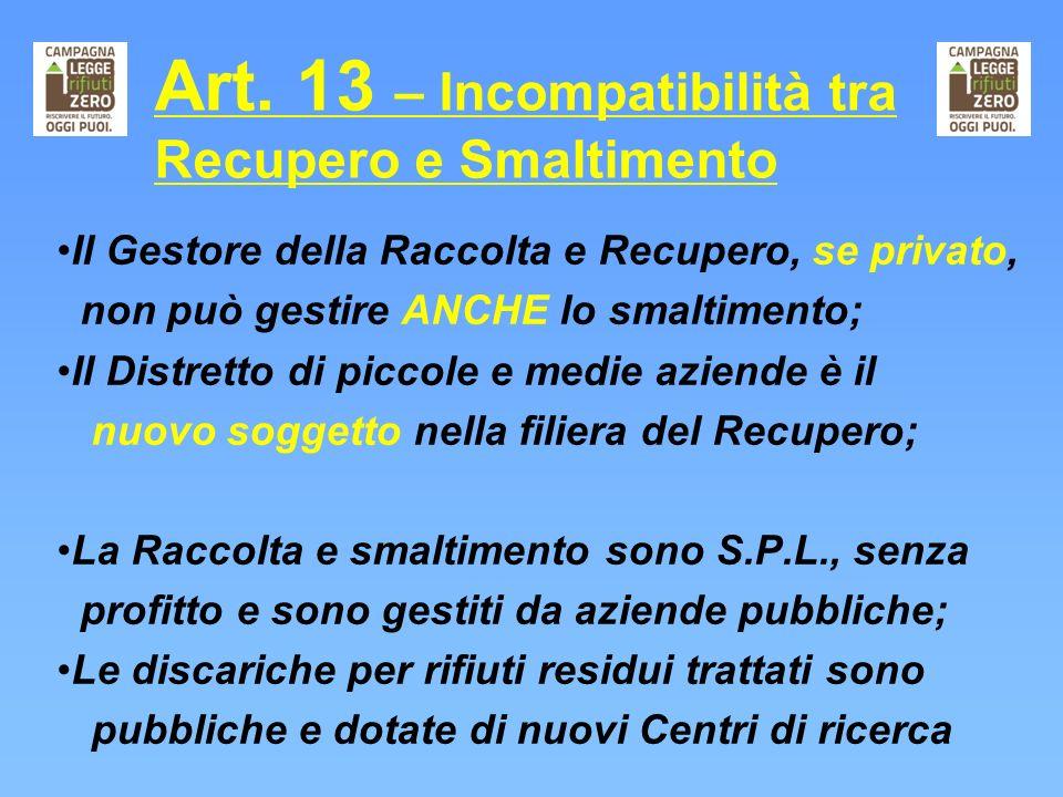 Art. 13 – Incompatibilità tra Recupero e Smaltimento