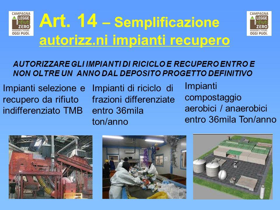 Art. 14 – Semplificazione autorizz.ni impianti recupero