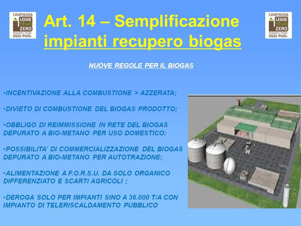 Art. 14 – Semplificazione impianti recupero biogas