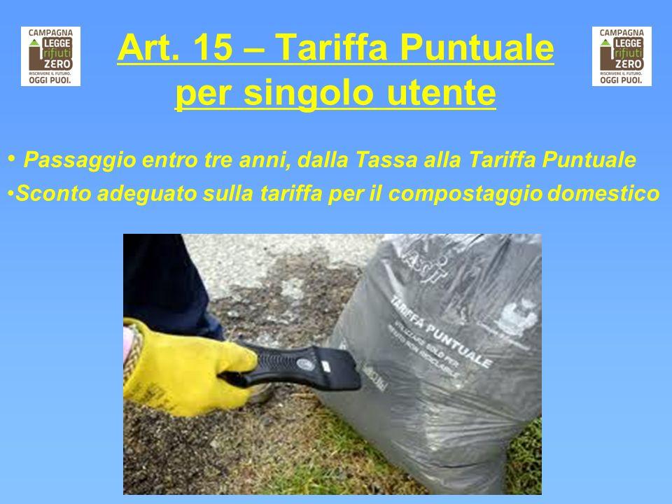 Art. 15 – Tariffa Puntuale per singolo utente