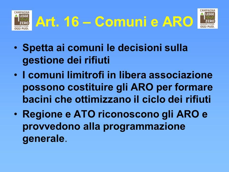 Art. 16 – Comuni e ARO Spetta ai comuni le decisioni sulla gestione dei rifiuti.