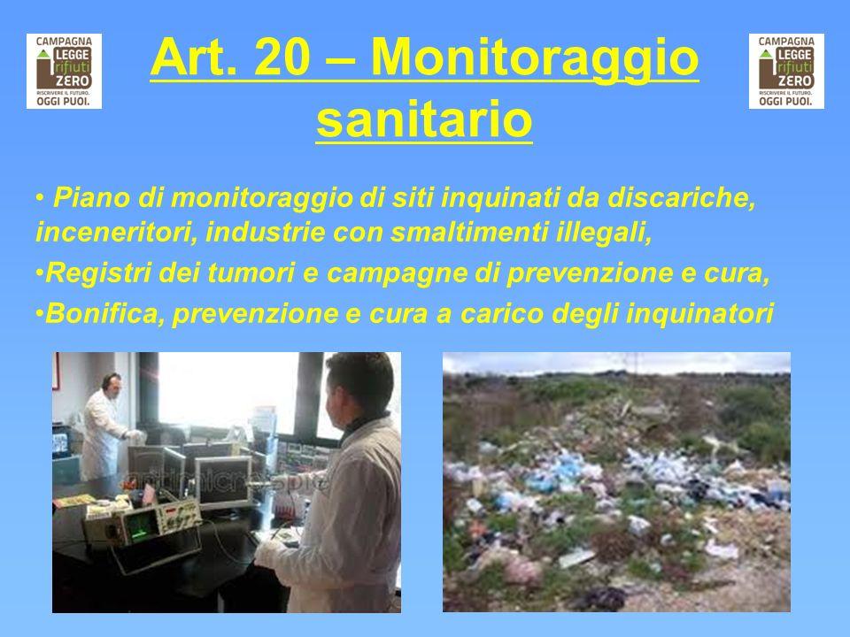 Art. 20 – Monitoraggio sanitario