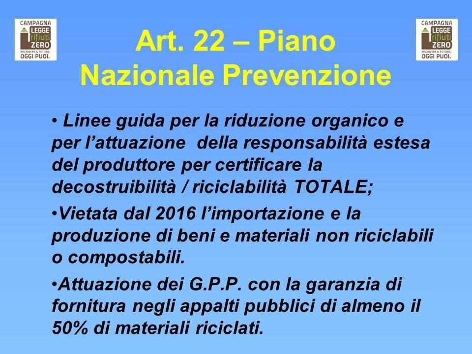 Art. 22 – Piano Nazionale Prevenzione