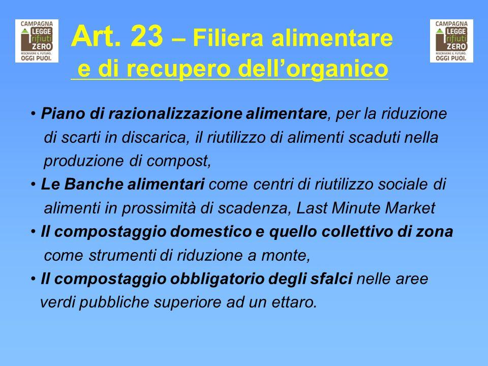 Art. 23 – Filiera alimentare e di recupero dell'organico