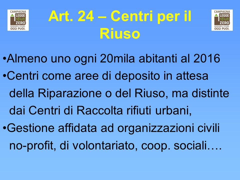 Art. 24 – Centri per il Riuso