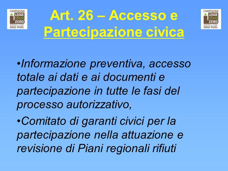 Art. 26 – Accesso e Partecipazione civica