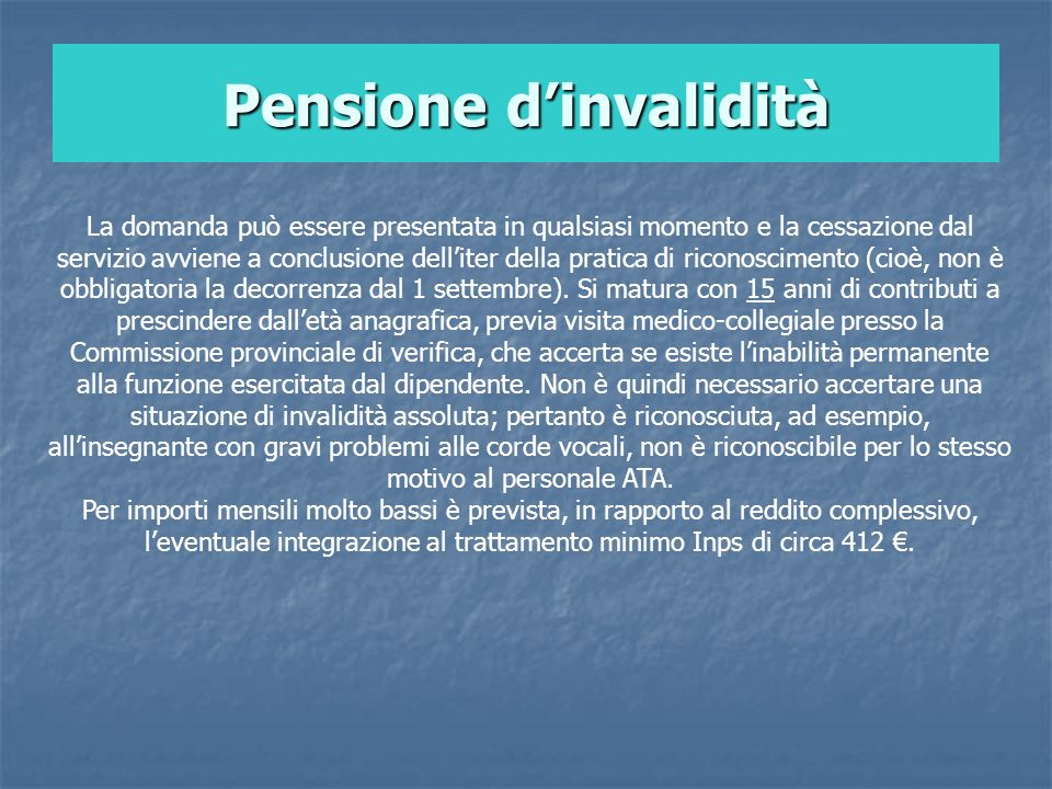 Pensione d'invalidità