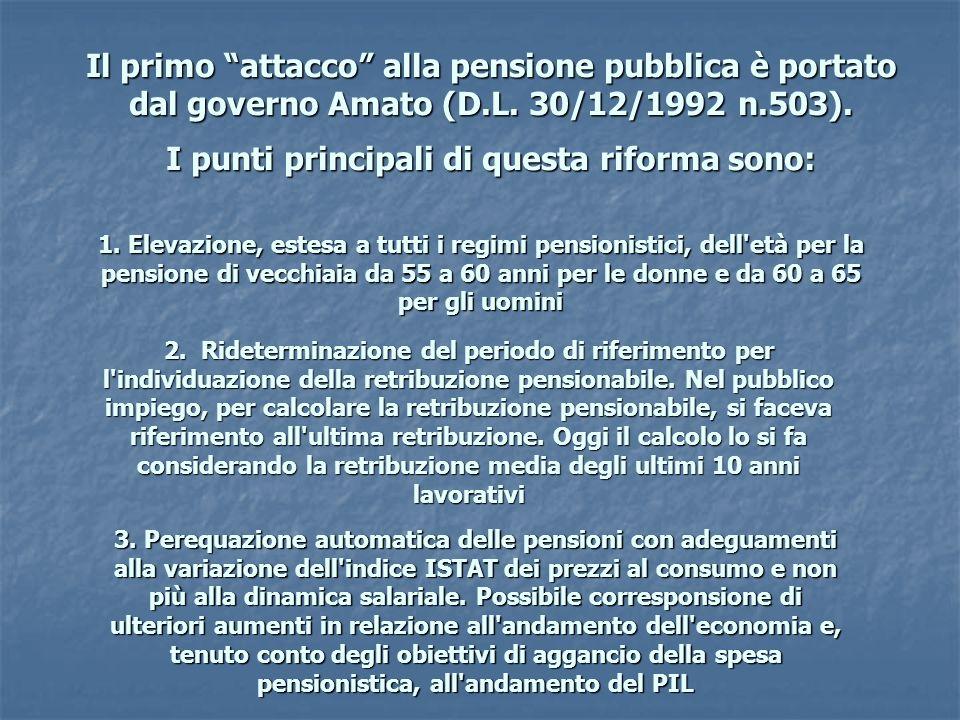 Il primo attacco alla pensione pubblica è portato dal governo Amato (D.L. 30/12/1992 n.503). I punti principali di questa riforma sono: