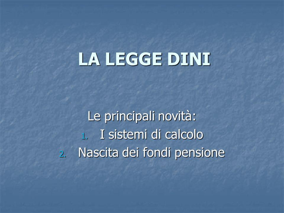 Le principali novità: I sistemi di calcolo Nascita dei fondi pensione