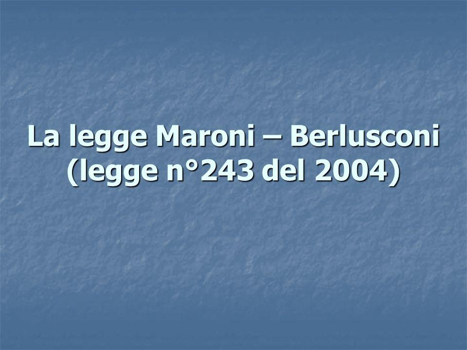 La legge Maroni – Berlusconi (legge n°243 del 2004)