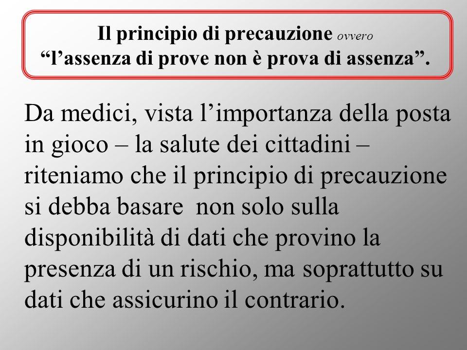 Il principio di precauzione ovvero l'assenza di prove non è prova di assenza .