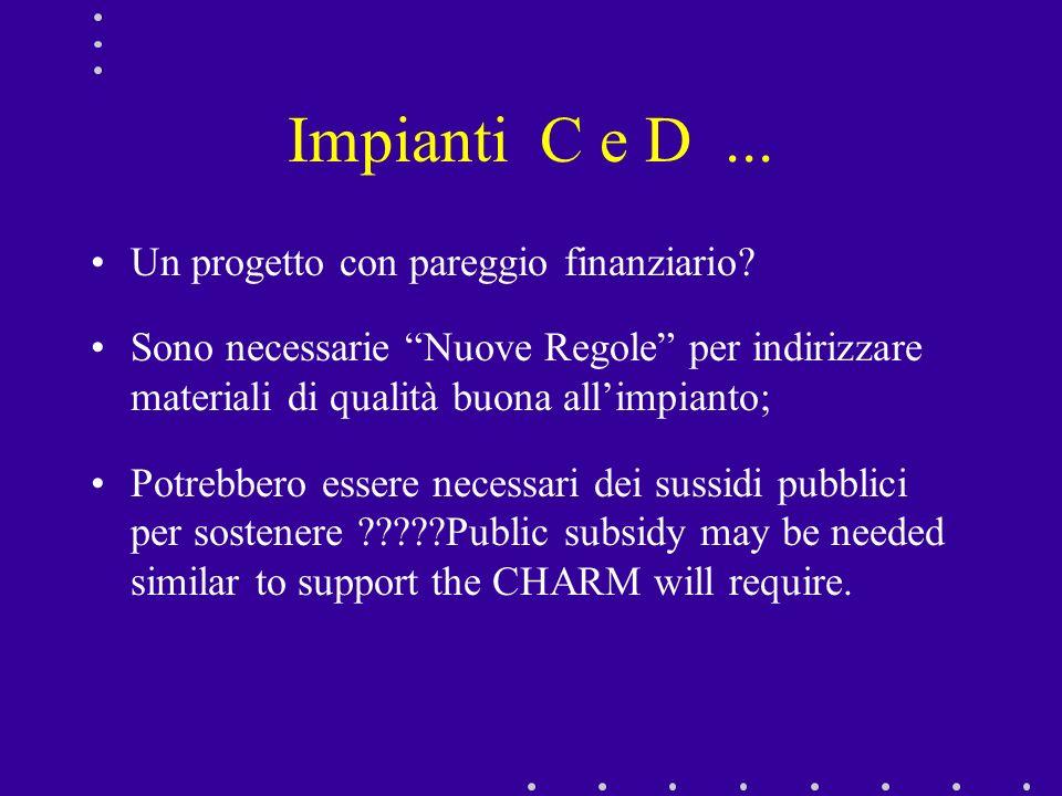 Impianti C e D ... Un progetto con pareggio finanziario