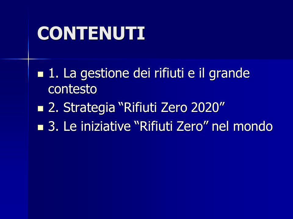 CONTENUTI 1. La gestione dei rifiuti e il grande contesto