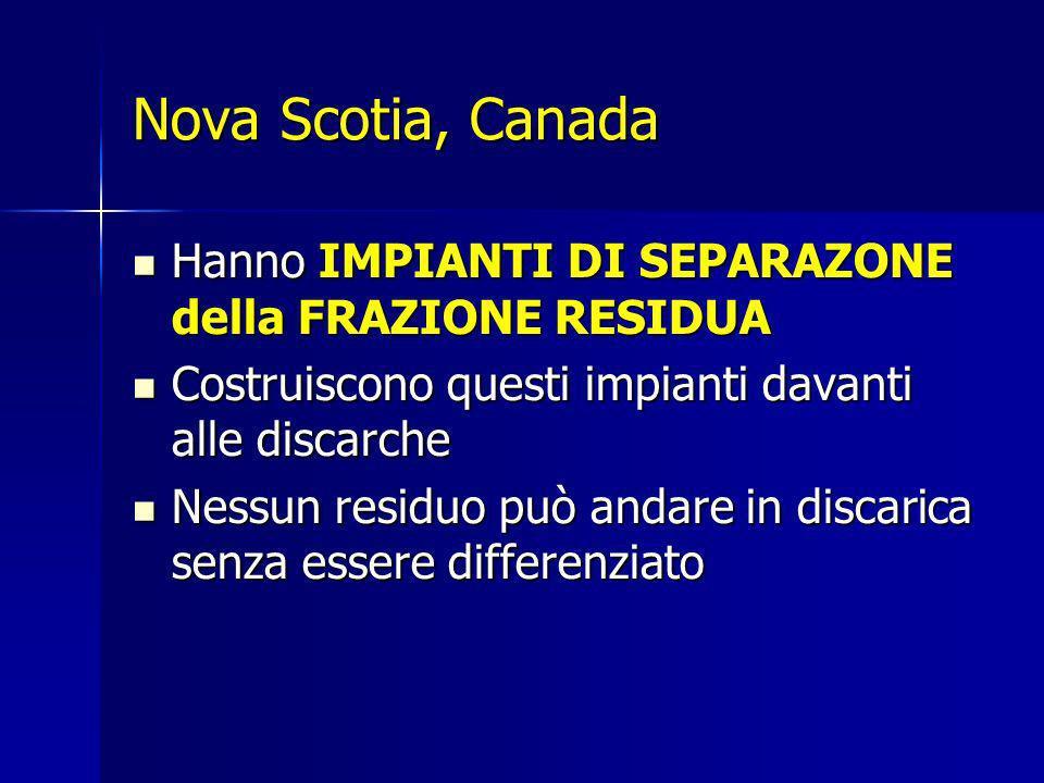 Nova Scotia, Canada Hanno IMPIANTI DI SEPARAZONE della FRAZIONE RESIDUA. Costruiscono questi impianti davanti alle discarche.