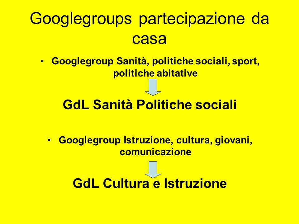 Googlegroups partecipazione da casa