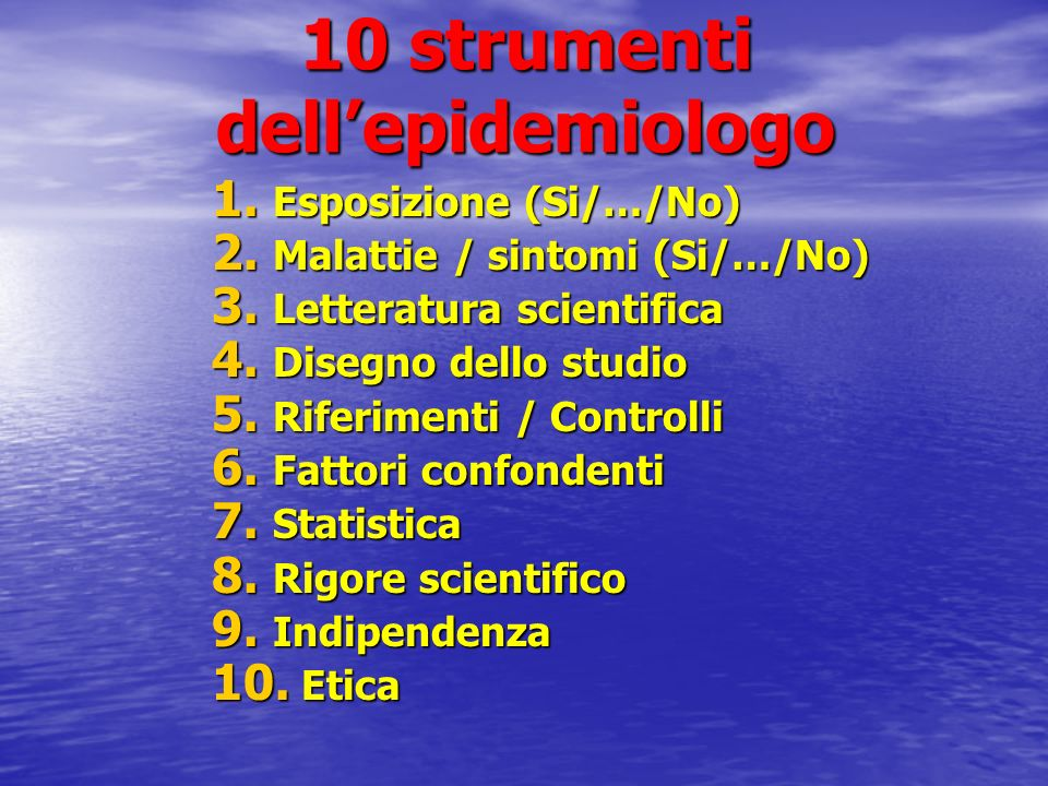 10 strumenti dell'epidemiologo