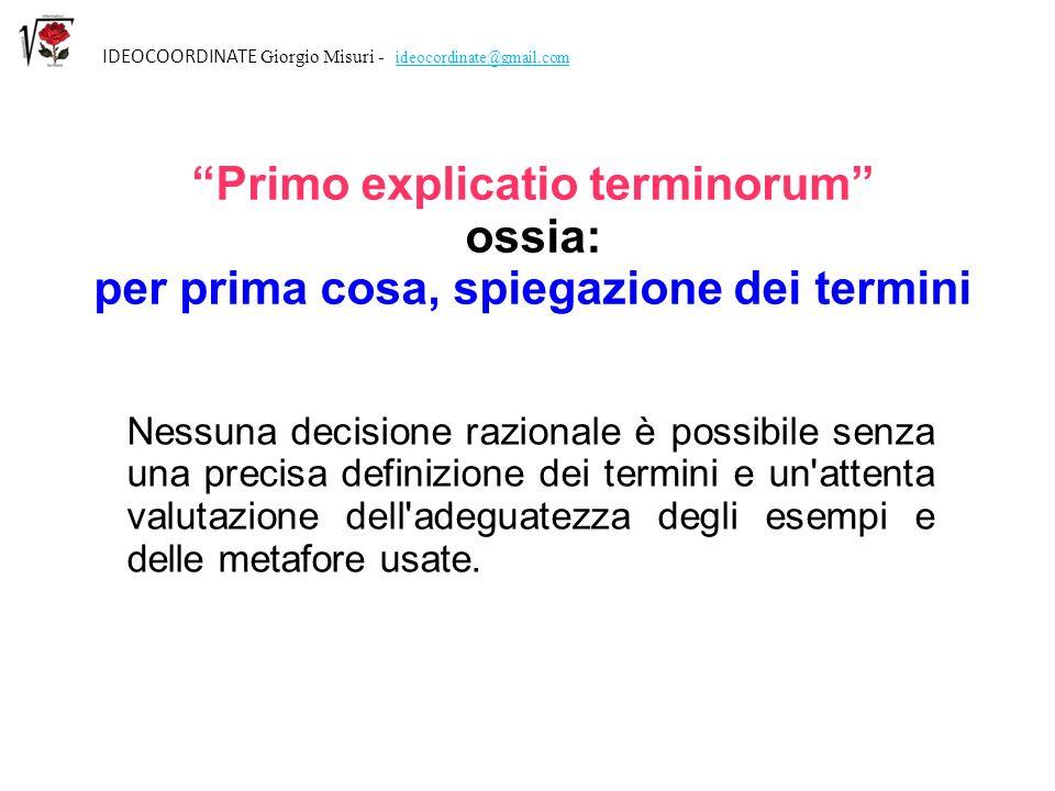 Primo explicatio terminorum per prima cosa, spiegazione dei termini