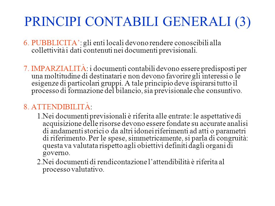 PRINCIPI CONTABILI GENERALI (3)