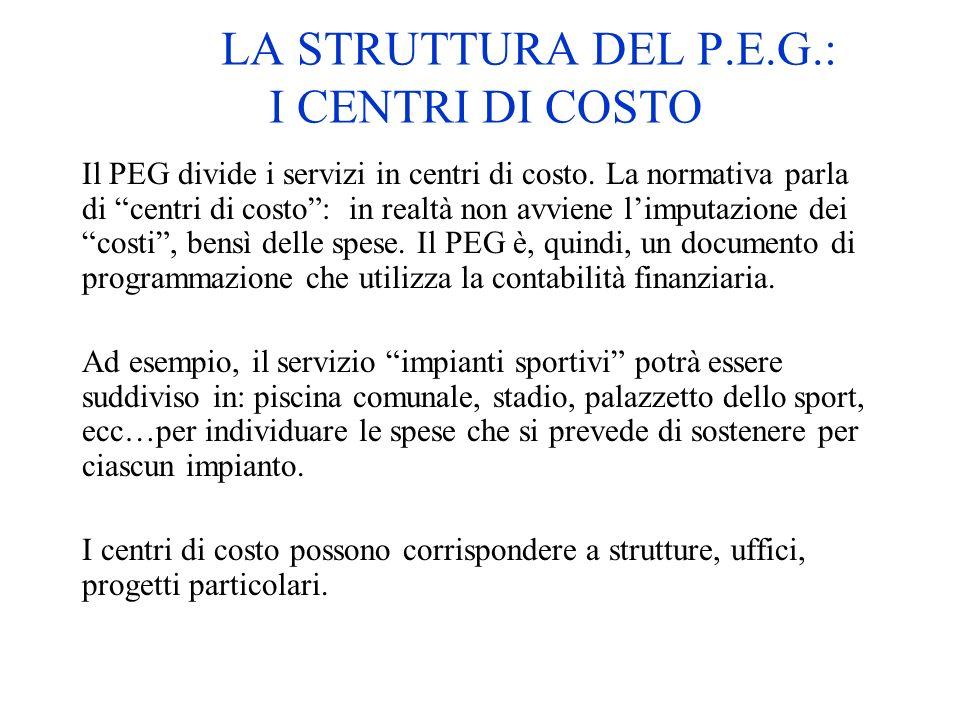 LA STRUTTURA DEL P.E.G.: I CENTRI DI COSTO