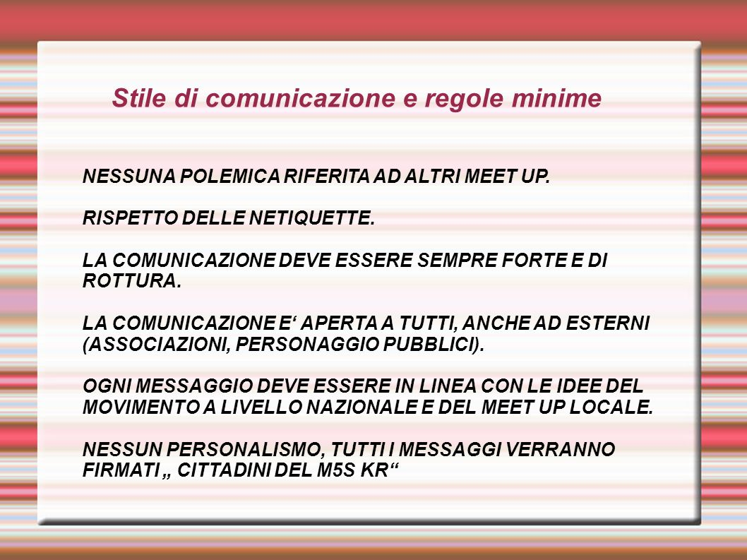Stile di comunicazione e regole minime