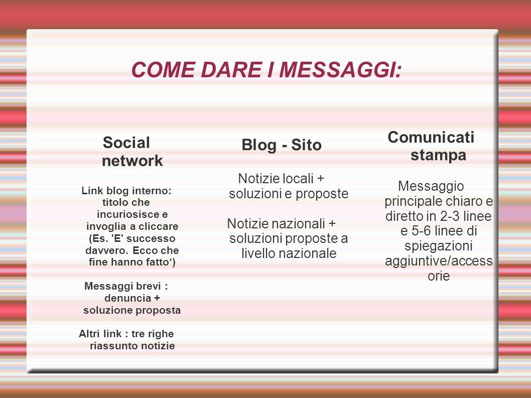 COME DARE I MESSAGGI: Comunicati stampa Social network Blog - Sito